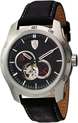 Ferrari Men's Primato Stainless Steel Japanese-Automatic Watch with Leather Calfskin Strap