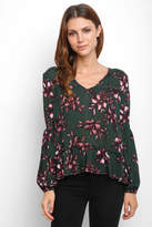 BB Dakota Floral Tie Neck Gauze Long Sleeve Blouse