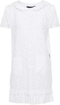 Love Moschino Gathered Poplin And Broderie Anglaise Cotton-blend Mini Dress