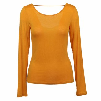 Tresics Women's Trendy Basic Junior Long Sleeve Meet and Greet Scoop Back Fitted Top
