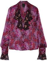 Anna Sui Printed Chiffon-trimmed Silk-satin Blouse - Plum
