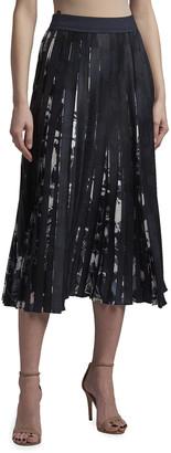Agnona Floral-Print Pleated Midi Skirt