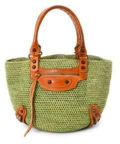 Balenciaga Vintage Raffia Straw Basket Bag