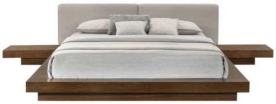 Thumbnail for your product : VIG Furniture Modrest Tokyo Contemporary Walnut and Gray Platform Bed, Queen