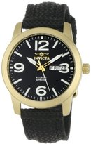 Invicta Women's 1051 Specialty Black Canvas 18k Gold-Plated Watch