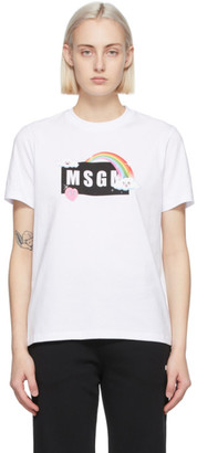 MSGM White Rainbow Logo T-Shirt