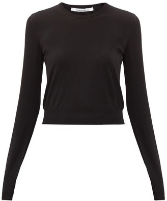 Another Tomorrow - Long-sleeved Knitted Cropped Top - Black
