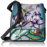 Anuschka Hand Painted Triple Compartment Crossbody Organizer Tranquil Pond