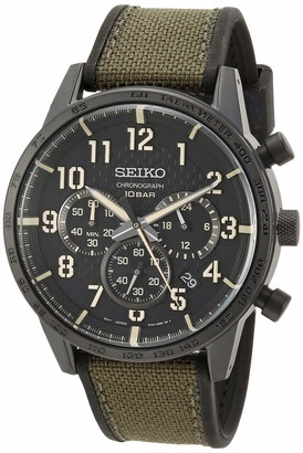 Seiko Men's Chronograph/Essentials Stainless Steel Japanese Quartz With Silicone Strap Green (Model: SSB369)
