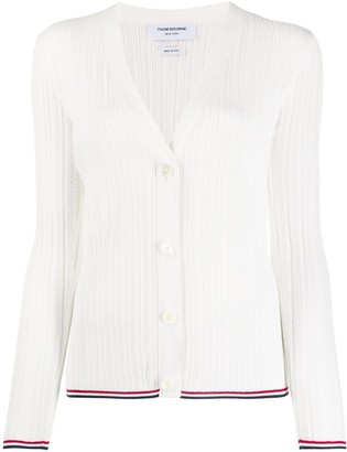 Thom Browne Ribbed V Neck Cardigan