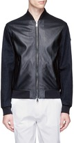 Armani Collezioni Denim sleeve leather blouson jacket
