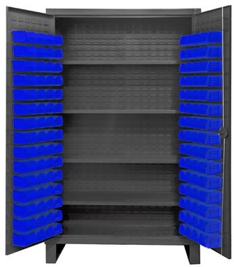 "Durham Manufacturing 78"" H x 48"" W x 24"" D Lockable Cabinet Bin Color: Blue"