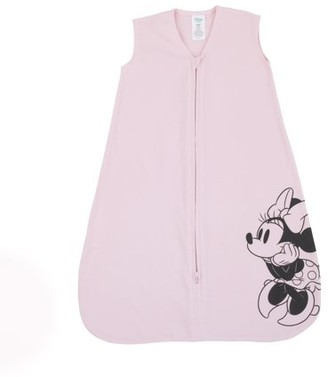 Disney Minnie Mouse 100% Cotton Knit Wearable Blanket Pink & Black - Size Medium 6-12 Mo.