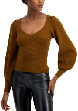 French Connection Ribbed Balloon-Sleeve Sweater