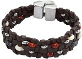 Uno de 50 Going Beaded Braided Brown Leather Bracelet