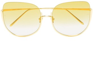 Linda Farrow yellow kennedy oversized sunglasses