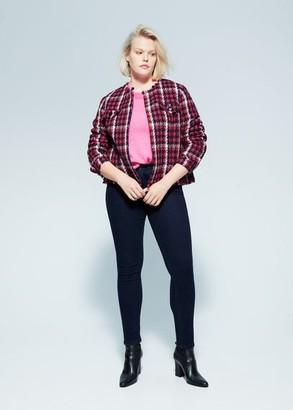 MANGO Violeta BY Check tweed jacket fuchsia - M - Plus sizes