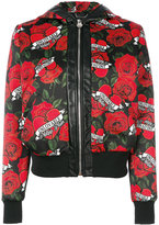 Philipp Plein printed hooded bomber jacket - women - Polyester/Acetate/Viscose - M