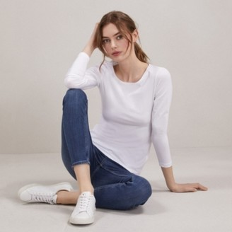 The White Company Essential Long Sleeve T-Shirt, White, 8