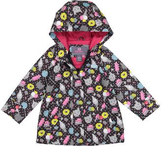 Skechers Girls' Rain Coats BLACK - Black Kitty Print Hooded Raincoat - Toddler & Girls