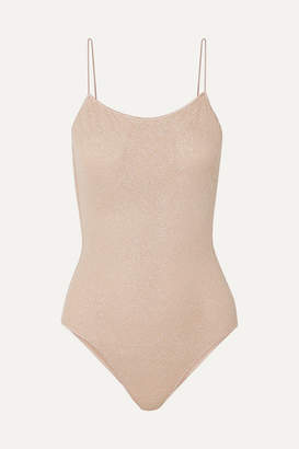Oseree Lumiere Stretch-lurex Swimsuit - Neutral