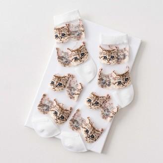 WDFVGEE Women Ultra Thin Cute Ankle Socks Transparent Glass Fiber Meow Cat Tube Hosiery for Cute sports socks