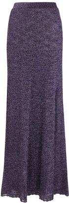 M Missoni Purple metallic-knit midi skirt