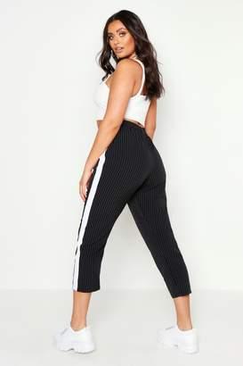 boohoo Plus Side Stripe Cigarette Trouser
