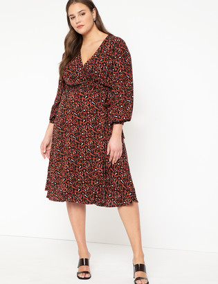 ELOQUII Long Sleeve Wrap Dress with Tie