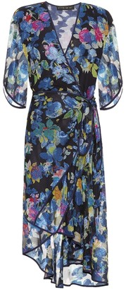 Etro Floral silk-blend midi wrap dress