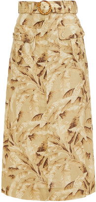 Zimmermann Super Eight Safari Belted Printed Linen Midi Skirt