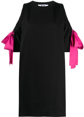 MSGM Cut-Out Detail Bow Sleeve Dress