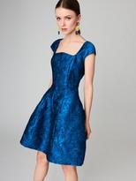 Oscar de la Renta Cap-Sleeve Filigree Silk-Jacquard Cocktail Dress