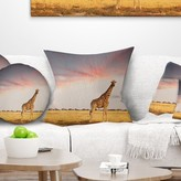 "African Single Giraffe in Savannah Throw Pillow East Urban Home Size: 16"" x 16"", Product Type: Throw Pillow"