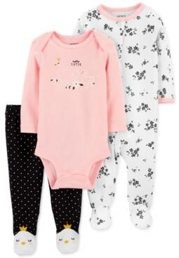 Carter's Baby Girls 3-Pc. Cotton Hello Cutie Coveralls, Bodysuit & Footie Pants Set