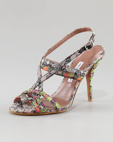 Tabitha Simmons Flossie Printed Silk Sandal