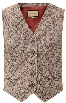 Gucci G-jacquard Wool Waistcoat - Brown Multi