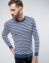 Jack Wills Seabourne Crew Neck Stripe Jumper In White