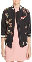 Alice + Olivia Lila Embroidered Silk Bomber Jacket