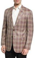 Giorgio Armani Plaid Wool-Silk-Linen Sport Coat, Berry/Tan