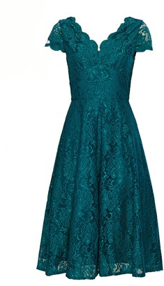 Wallis **Jolie Moi Teal Cap Sleeve Lace Fit and Flare Dress