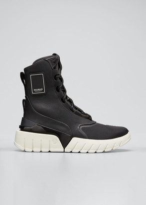 Balmain Men's B-Army Mixed-Media High-Top Sneakers