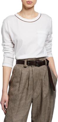 Brunello Cucinelli Monili-Beaded Cotton Jersey Long-Sleeve Tee