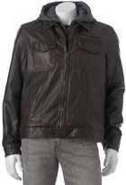 Levi's Men's Sherpa-Lined Faux-Leather Hooded Trucker Jacket