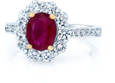 Ice 2 3/5 CT TW Oval-Cut Ruby and Diamond 14K Two-Tone Gold Halo Engagement Ring