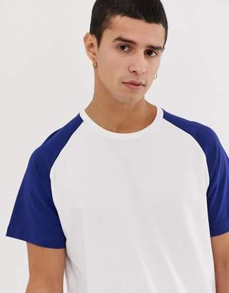 Jack and Jones Originals longline curved hem raglan sleeve t-shirt in white/blue