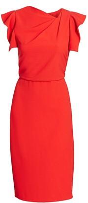 Halston Asymmetric-Neck Sheath Dress