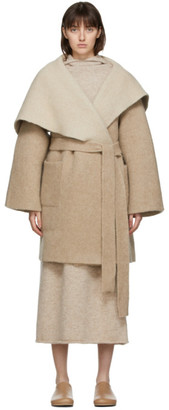 LAUREN MANOOGIAN Beige Alpaca and Wool Blanket Coat