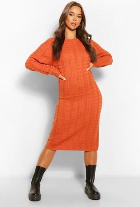 boohoo Cable Knit Midi Dress