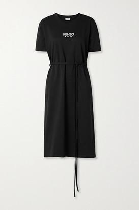 Kenzo Belted Logo-print Cotton-jersey Midi Dress - Black